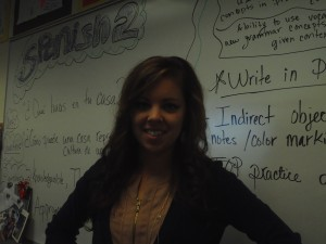Ms. Boley smiles for a photo in her classroom.